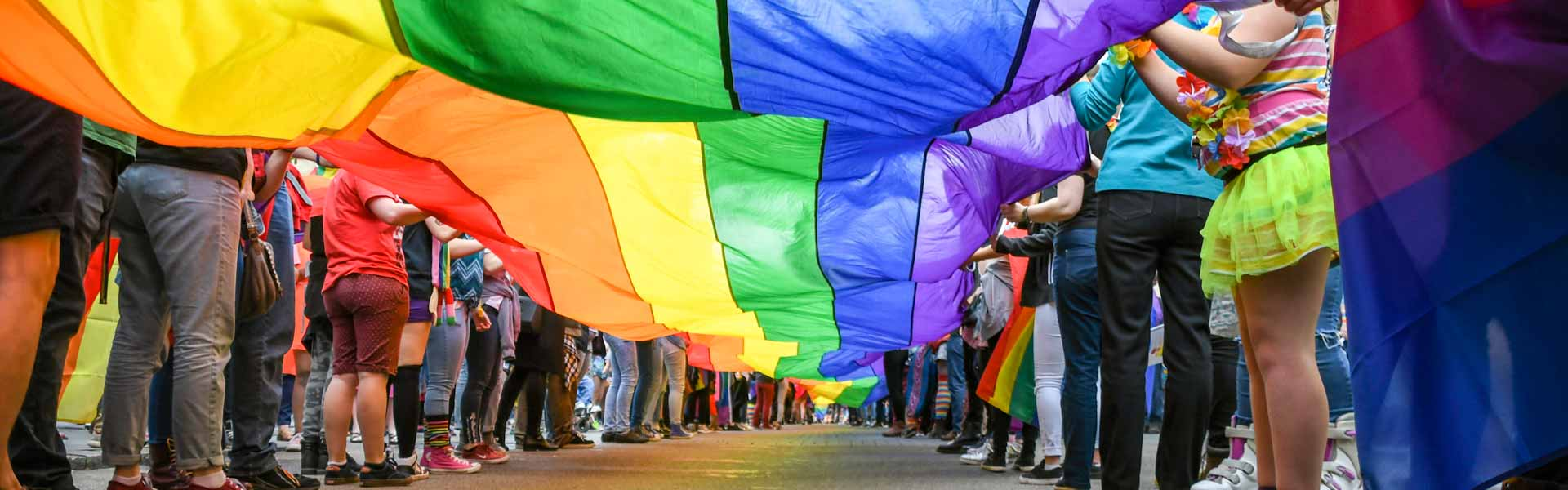 Group of people holding rainbow flag